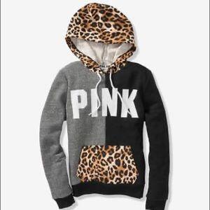 Pink leopard print colorblock hoodie